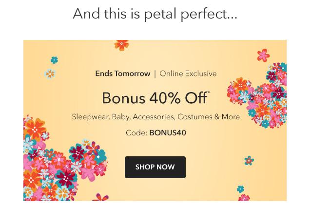 Bonus 40% Off | Shop Now
